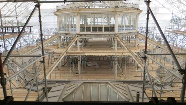 Ramboll: Interior of Temperate House under scaffolding and protecting covering