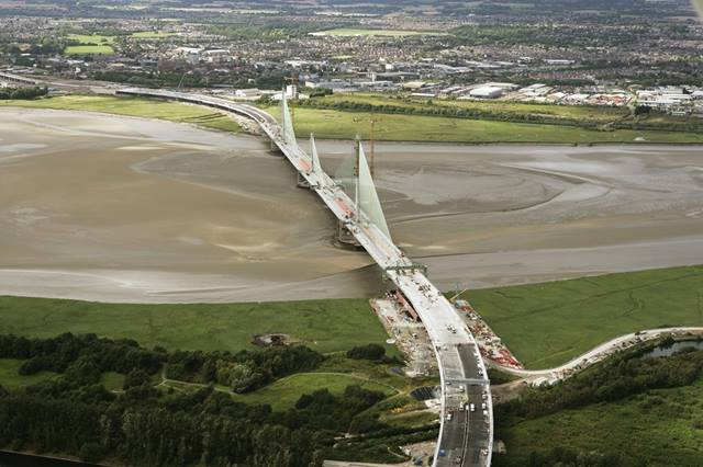 31 July 2017 Mersey Gateway main crossing and approach viaducts. Image: MerseyLink