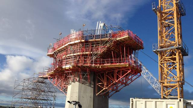The central pylon of the Mersey Gateway is taking shape. October 2015.  Image courtesy of Merseylink