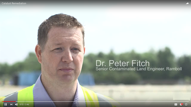 Peter Fitch, Ramboll, supervisor on the Mersey Gateway remediation contract speaking on Halton Borough Council's video about the end of the remediation works at Catalyst Trade Park.