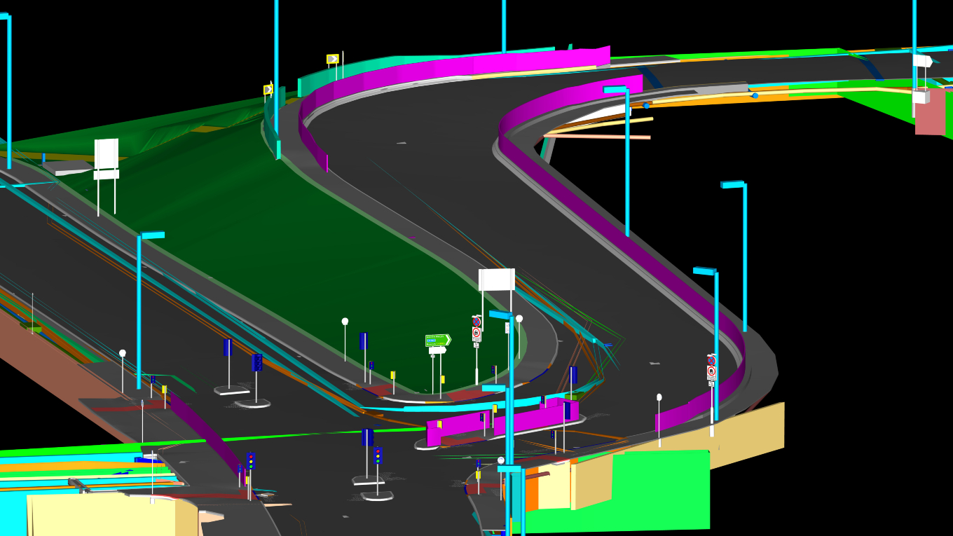 Part of the BIM model for a 1.2km highway link including a 45m span bridge crossing of the River Mersey. Image Ramboll