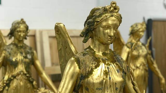 Nike, Goddess of Victory, statues prior to restoration. Image Hall Conservation Ltd