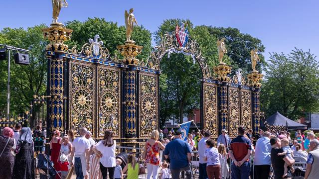 Warrington Golden Gates on Walking Day during their rededication in 2019. Image Andy Marshall