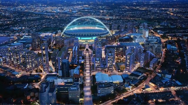 Courtesy of Quintain, Image BRAG Media Ltd - CGI projection of completed projects, with Wembley Way approach in foreground