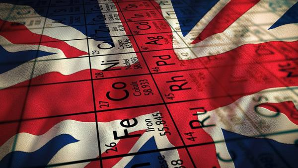 Union flag with periodic table