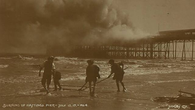 Hastings Pier. Fire of 1917