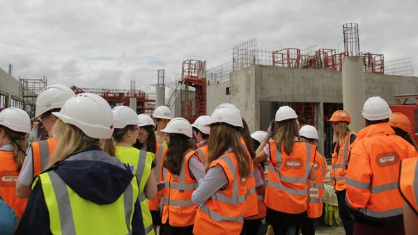 The foundations for successful careers may have been laid when this group of Cambridge schoolgirls got a hands-on taste of the construction industry to mark Women in Engineering Day 2016. Photo credit: Ramboll