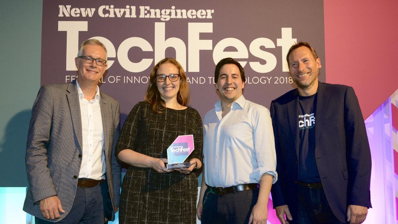 Ruth Norman-Johnson and Paul Jeffries collect NCE Techfest Award