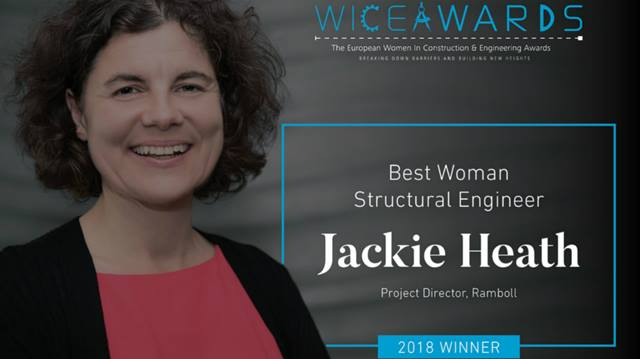 Celebrations were aplenty as Jackie Heath won Best Woman Structural Engineer at the European Women in Construction and Engineering (WICE) awards