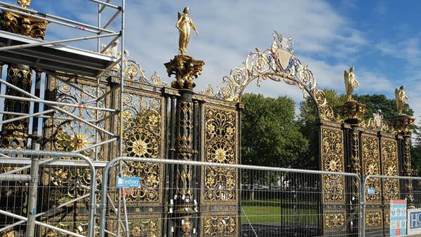 Warrington Golden Gates immediately prior to removal for restoration