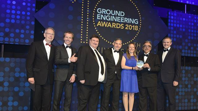 (L-R) GE Award sponsor,  Ramboll's Simon Miller, Stephen West, Guy Collingwood, Jenny Symons, Mohsen Vaziri and award presenter Miles Jupp