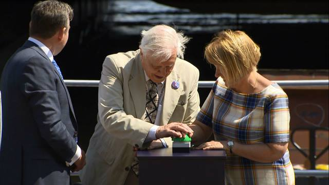 Sir David Attenborough and Professor Dame Jane Francis launch the Polar Ship © British Antarctic Survey