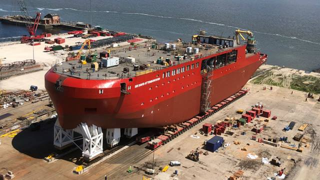 Ship in position at Cammell Laird's yard in preparation for launch © British Antarctic Survey