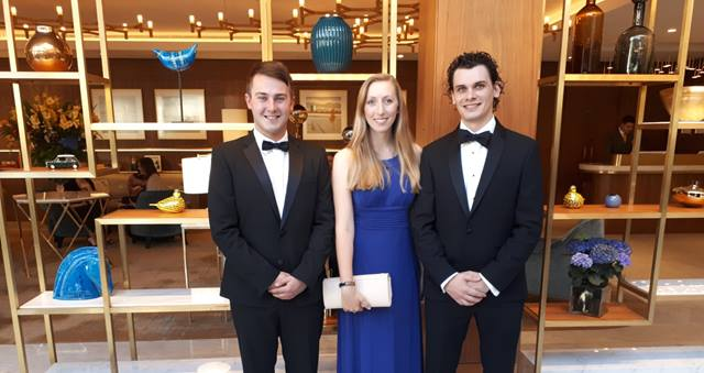 Ramboll ACE consulting and engineering award finalists. From left to right: Conor O'Loughlin, Charlotte Smith, Gavin Smith, Image: Alex Lawrence.