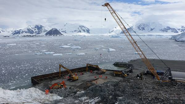 Construction underway on wharf at Rothera Research Station, Antarctic