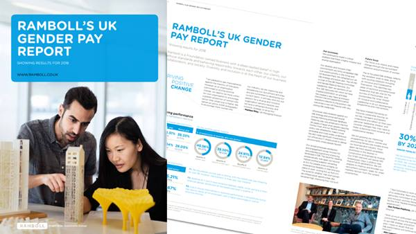 Ramboll's UK gender pay report showing results for 2018