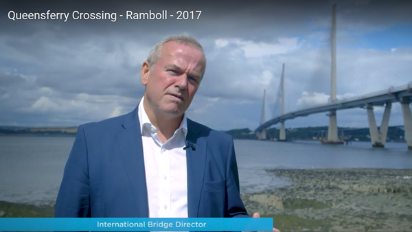 Peter Curran in front of the Queensferry Crossing